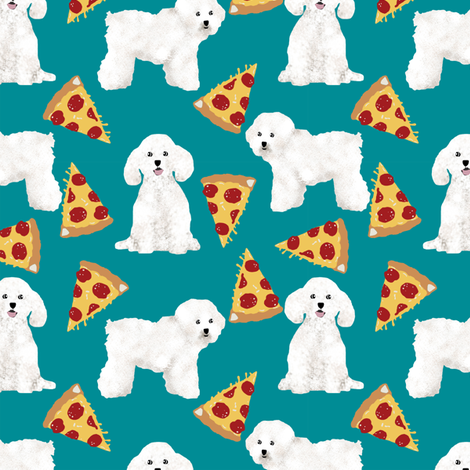 bichon frise pizza fabric cute dog fabric best dog quilting fabrics cute dog design best pizzas design fabric by petfriendly on Spoonflower - custom fabric