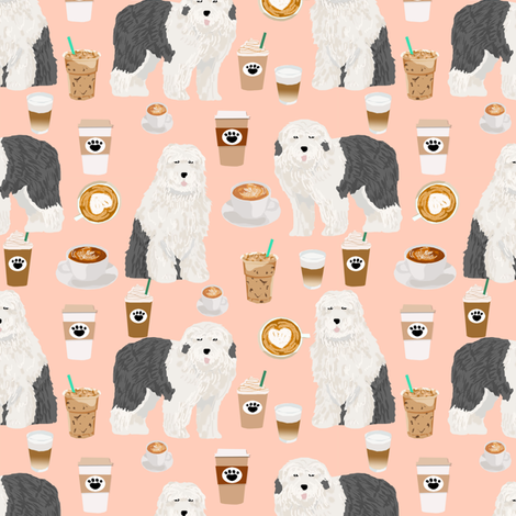 old english sheepdog coffees fabric cute coffees designs for dogs old english sheepdog owners will love this dog quilting fabric fabric by petfriendly on Spoonflower - custom fabric