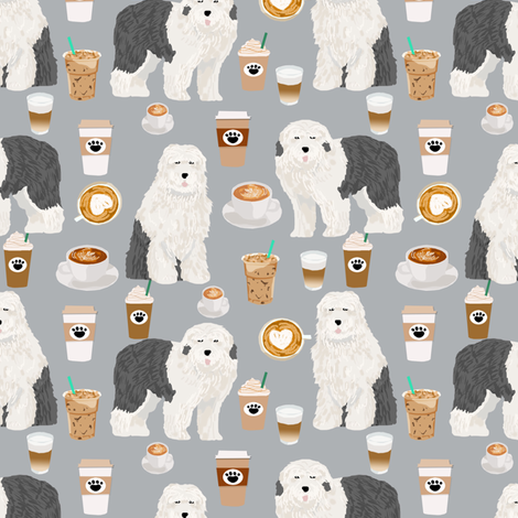 old english sheepdog fabric cute old english sheepdog and coffees print for quilting projects cute dog fabrics for quilters fabric by petfriendly on Spoonflower - custom fabric
