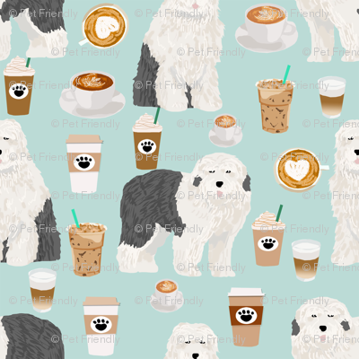 old english sheepdogs coffees fabric cute dogs dog print for coffee fabrics cute dogs design