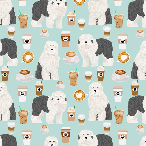 old english sheepdogs coffees fabric cute dogs dog print for coffee fabrics cute dogs design fabric by petfriendly on Spoonflower - custom fabric