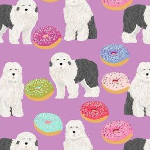old english sheepdogs purple donuts cute food pastel dogs design cute dog fabrics best dogs sheepdog fabric