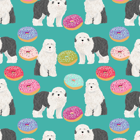 old english sheepdogs donuts fabric cute donuts designs best old english sheepdog fabrics cute pastel donuts fabric by petfriendly on Spoonflower - custom fabric