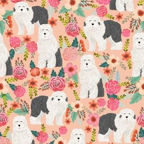 old english sheepdog florals cute floral dog prints best floral dog designs cute dogs for sewing projects quilters fabric