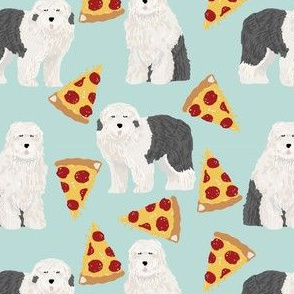 old english sheepdog pizza fabric cute dogs food fabric best dogs and pizzas designs