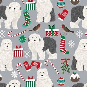 old english sheepdogs christmas fabric cute dogs design best xmas holiday dog fabric