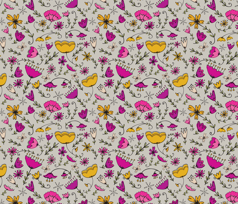 Simple Florals - Magenta & Yellow fabric by katievaz on Spoonflower - custom fabric