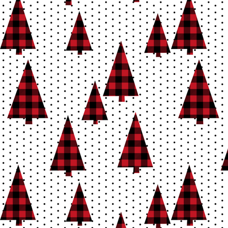 buffalo plaid christmas tree red plaid christmas plaid tree fir tree evergreens fabric by charlottewinter on