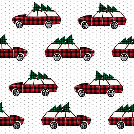 christmas wagon christmas red and green plaid fabric green plaids wagon christmas trees on wagons fabric by charlottewinter on Spoonflower - custom fabric