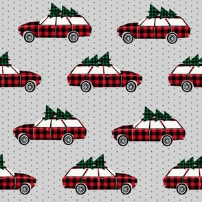 christmas wagon plaid christmas trees christmas fabric vintage retro christmas cars christmas trees on cars