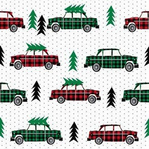 trees on cars red plaid green plaid red and green buffalo plaid christmas fabrics christmas fabric trees on car evergreen fir tree