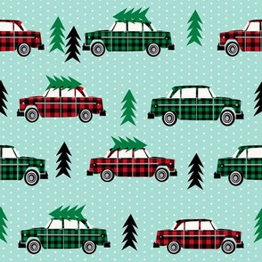 trees on cars christmas plaid christmas plaids red plaids red and green christmas
