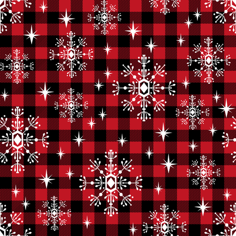 buffalo plaid snowflakes winter christmas fabric snowflakes christmas plaid christmas fabric fabric by charlottewinter on Spoonflower - custom fabric