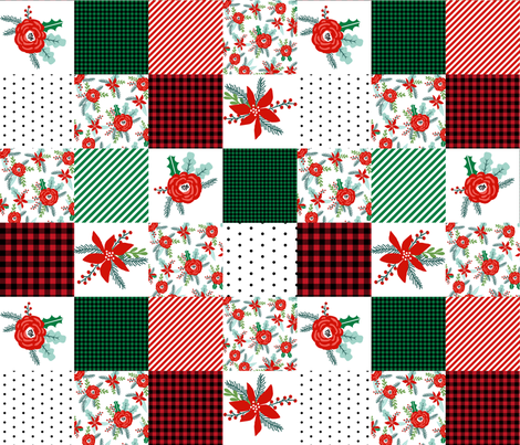 christmas cheater with plaid plaid cheater quilt christmas fabric patchwork red and green plaids tartan christmas fabric by charlottewinter on Spoonflower - custom fabric