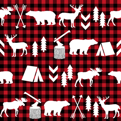 buffalo plaid woodland christmas winter fall cabin print fabric by charlottewinter on Spoonflower - custom fabric