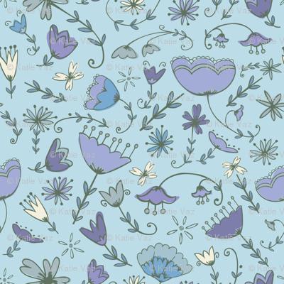 Simple Florals - Blue & Purple