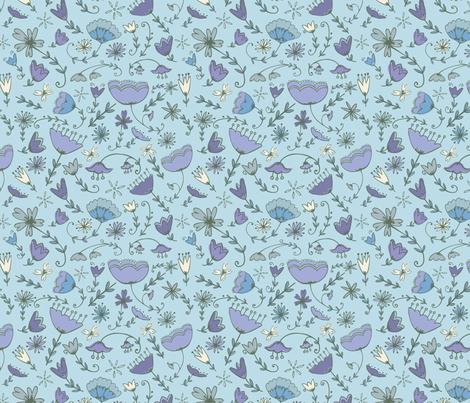 Simple Florals - Blue & Purple fabric by katievaz on Spoonflower - custom fabric
