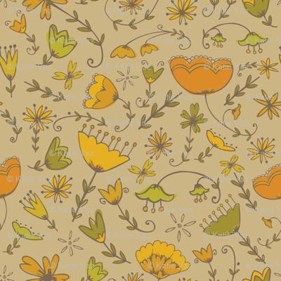 Simple Florals - Orange & Green