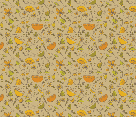 Simple Florals - Orange & Green fabric by katievaz on Spoonflower - custom fabric