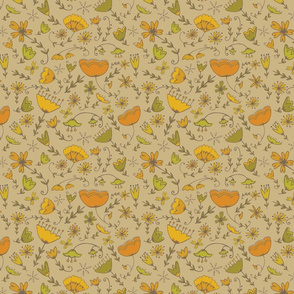 Simple Florals - Orange & Green
