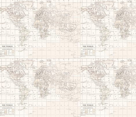 Cream Map Repeat fabric by aftermyart on Spoonflower - custom fabric