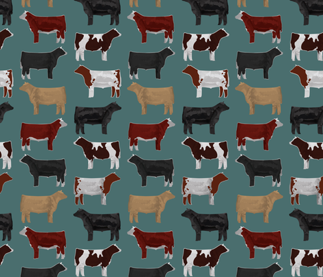 Steer Breeds on Teal fabric by thecraftyblackbird on Spoonflower - custom fabric
