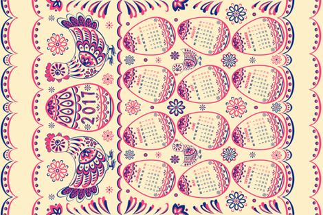 Calendar 2017 - folk hens fabric by olgart on Spoonflower - custom fabric