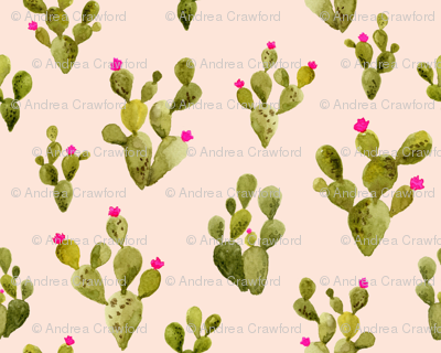 Prickly Pear blush with Pink Flowers