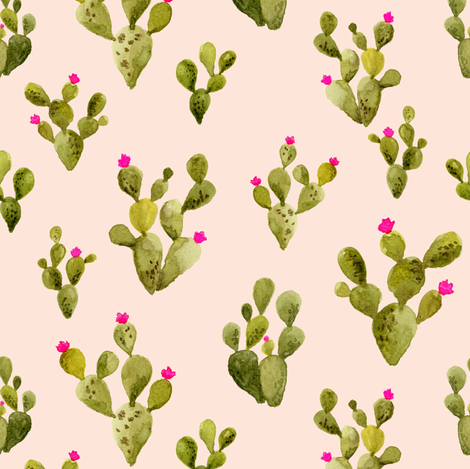 Prickly Pear blush with Pink Flowers fabric by mintpeony on Spoonflower - custom fabric