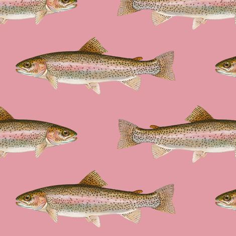 rainbow trout on rosebud pink fabric by weavingmajor on Spoonflower - custom fabric