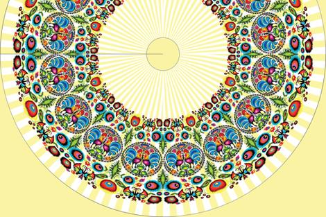 Wycinanka 003 Border Print Yellow Stripes fabric by stradling_designs on Spoonflower - custom fabric