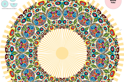 Wycinanka 003 Orange Stripes Cover-up Poncho fabric by stradling_designs on Spoonflower - custom fabric