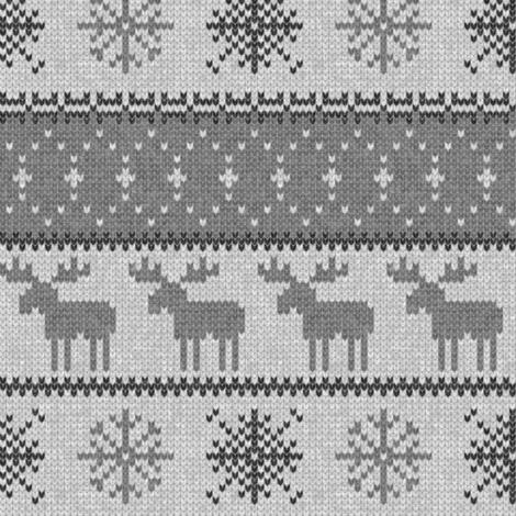 fair isle moose (grey on grey) || winter knits fabric ...