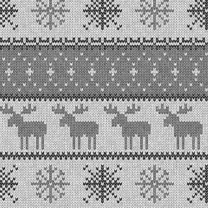 fair isle moose (grey on grey) || winter knits