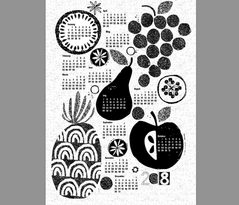 2018 More fruit tea towel calendar-b&w