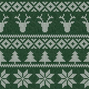 fair isle deer (green) || snowflake || winter knits