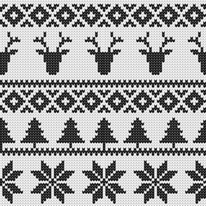 fair isle deer (black) || winter knits
