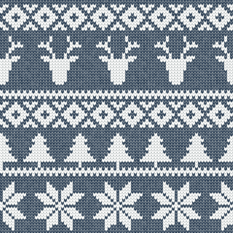 fair isle (deer) navy || winter knits fabric by littlearrowdesign on Spoonflower - custom fabric