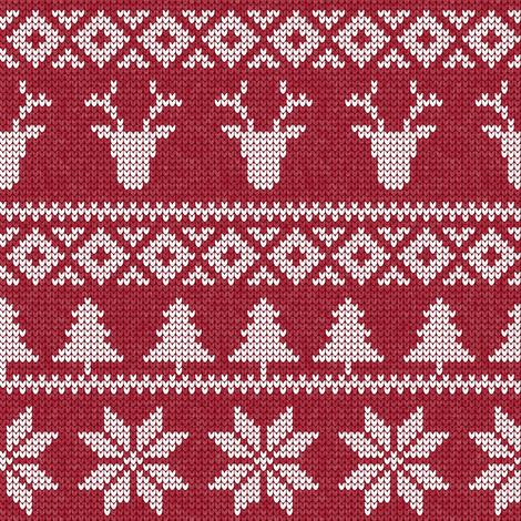 fair isle deer (red)    snowflake    winter knits fabric by littlearrowdesign on Spoonflower - custom fabric