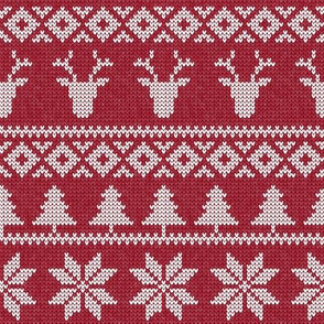 fair isle deer (red) || snowflake || winter knits