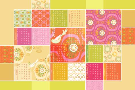 RP_DecoGarden_TeaTowel PinkOrange_2019 fabric by robinpickens on Spoonflower - custom fabric