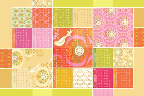 RP_DecoGarden_TeaTowel PinkOrange_2017_F fabric by robinpickens on Spoonflower - custom fabric