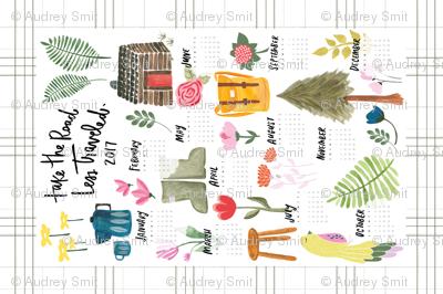"""Take the road less traveled"" 2017 tea towel calendar - with Jessica Keala"
