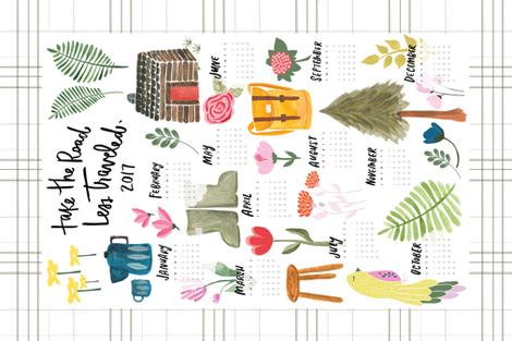 """Take the road less traveled"" 2017 tea towel calendar - with Jessica Keala fabric by thislittlestreet on Spoonflower - custom fabric"