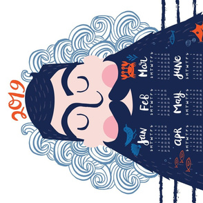 2019 Hipster Captain Tea Towel Calendar