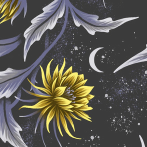 Queen of the Night - Grey / Yellow - Large Scale - Andrea Muller