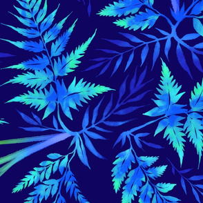 Fern Leaves - Blue - Large Scale