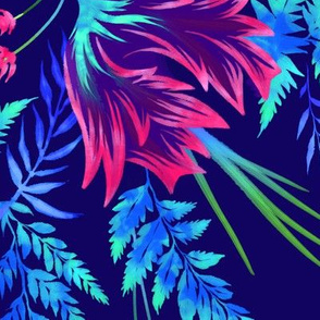 Parrot Tulips & Ferns - Navy/Pink - Large Scale