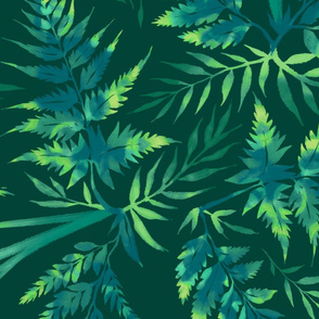 Fern Leaves - Green - Large Scale