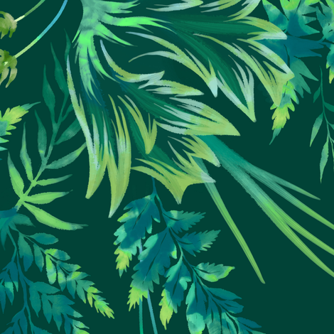 Parrot Tulips & Ferns - Green - Large Scale fabric by andreaalice on Spoonflower - custom fabric